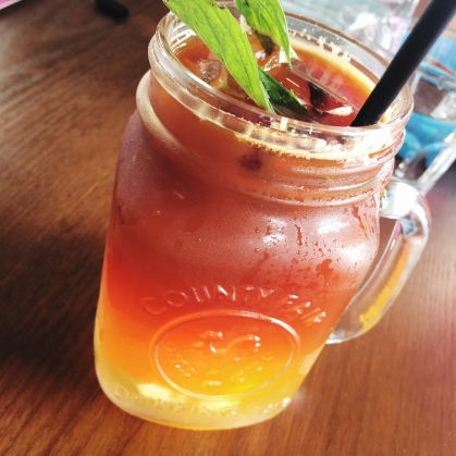 Fresh coconut iced tea